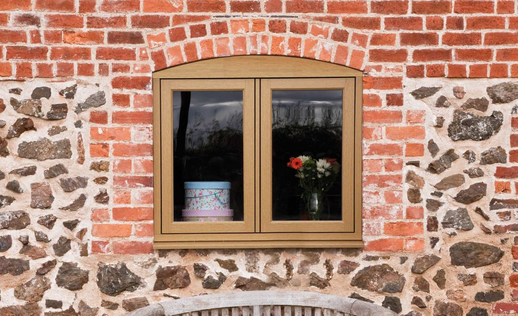 Oak effect timber look uPVC window
