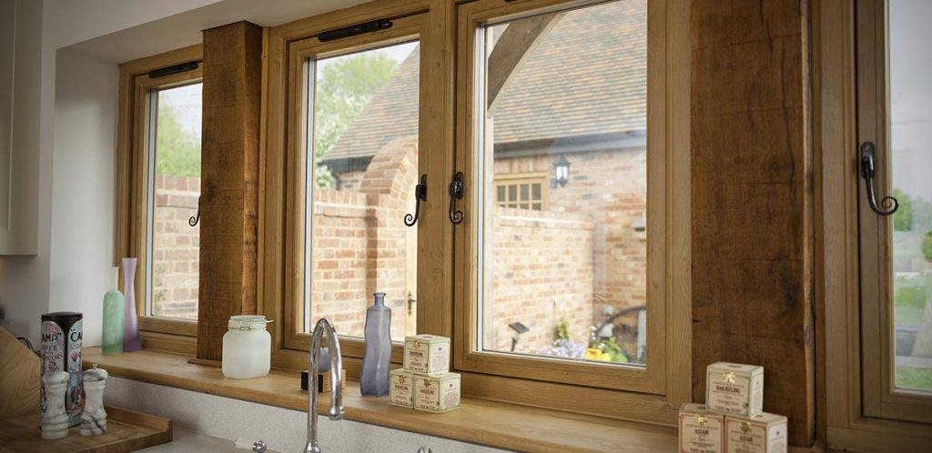 Timber look uPVC windows manufactured using the Residence 9 profile