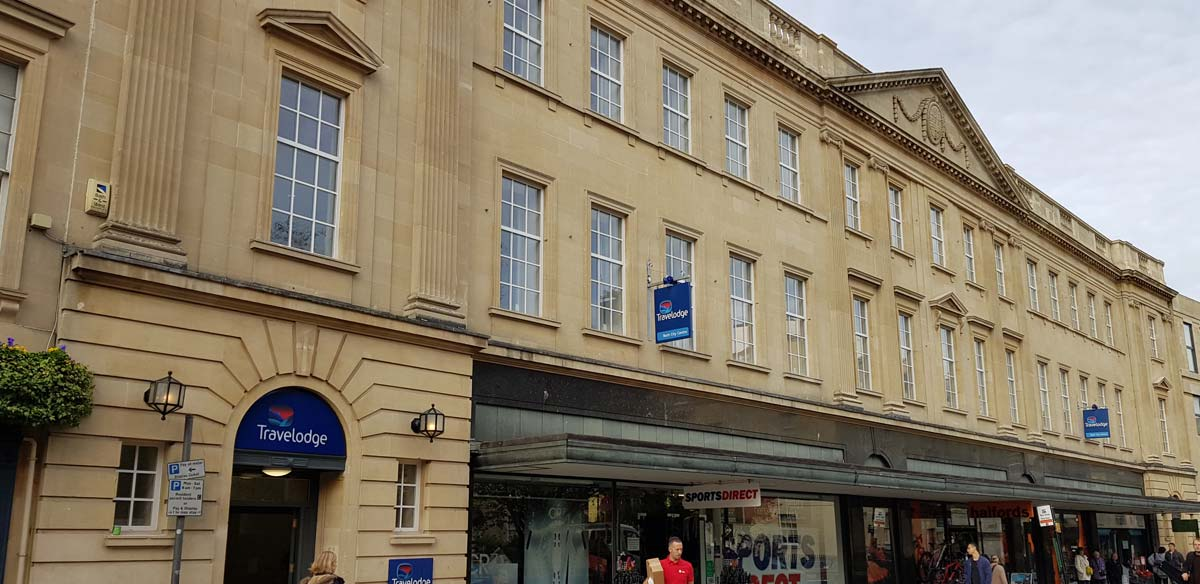 White windows with georgian bars installed for Travel Lodge refurbishment in Bath