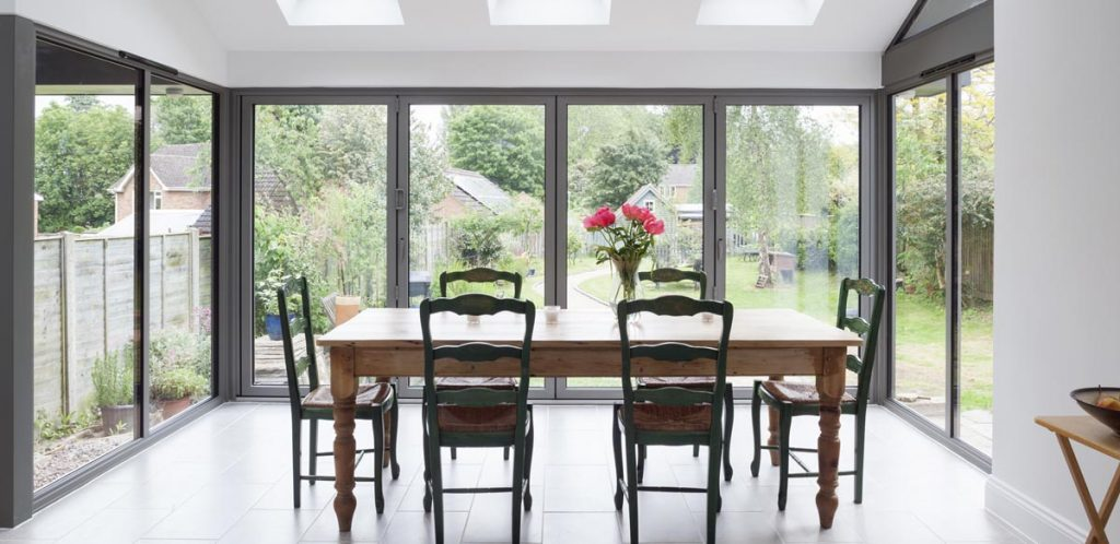 aluminium bifolding doors with a wide span