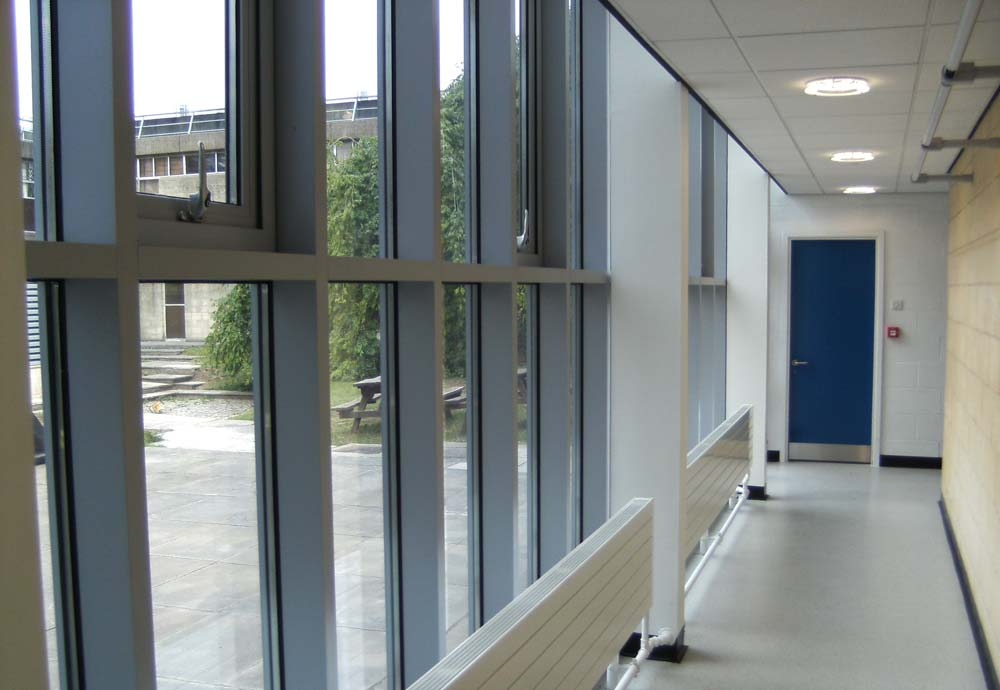Internal view of aluminium window wall system