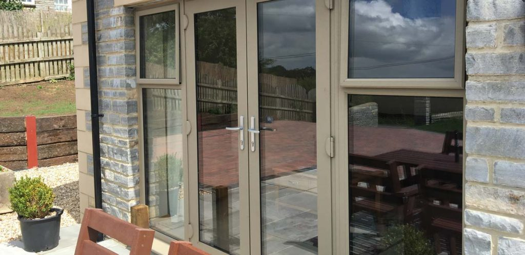 Double patio doors manufactured using high performance aluminium profile