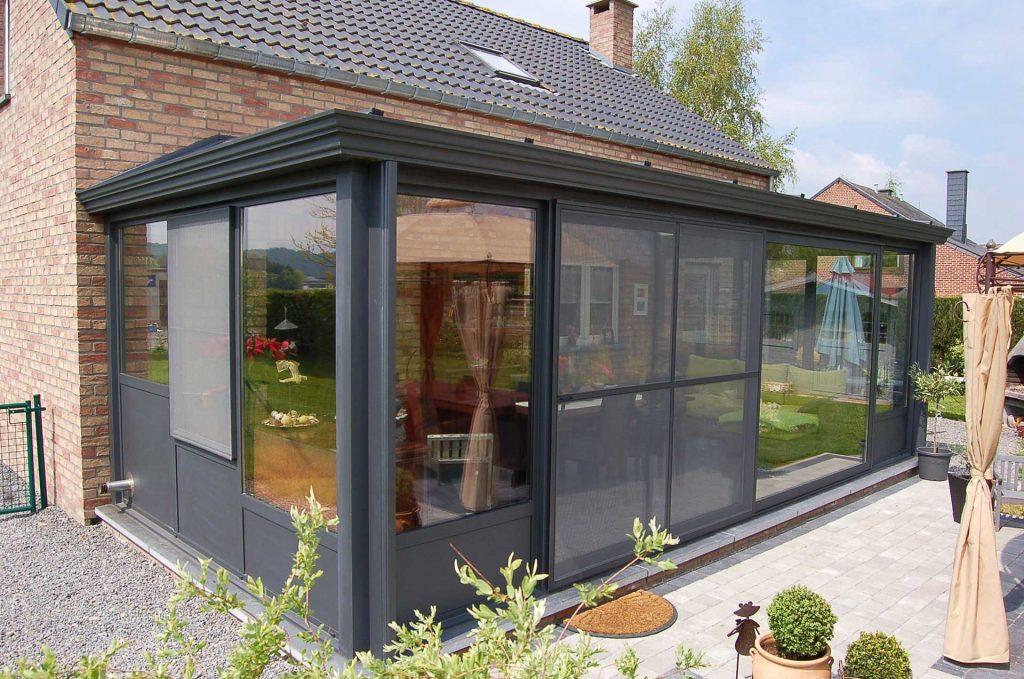 Black aluminium conservatory roof