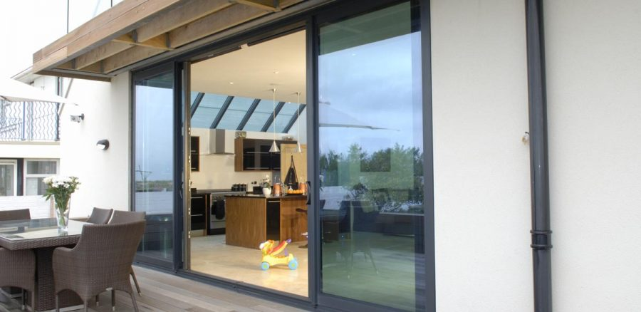 Black aluminium sliding door