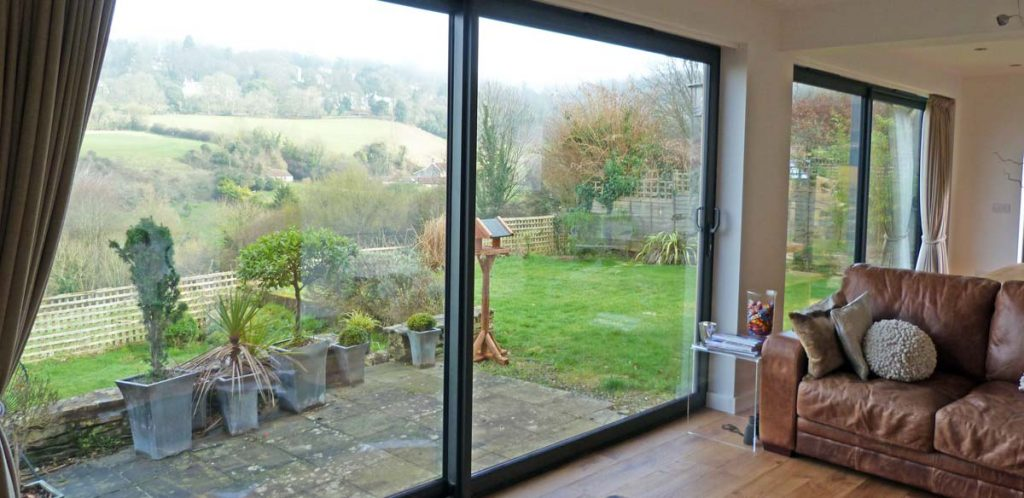 Internal view of aluminium sliding patio doors from the living room