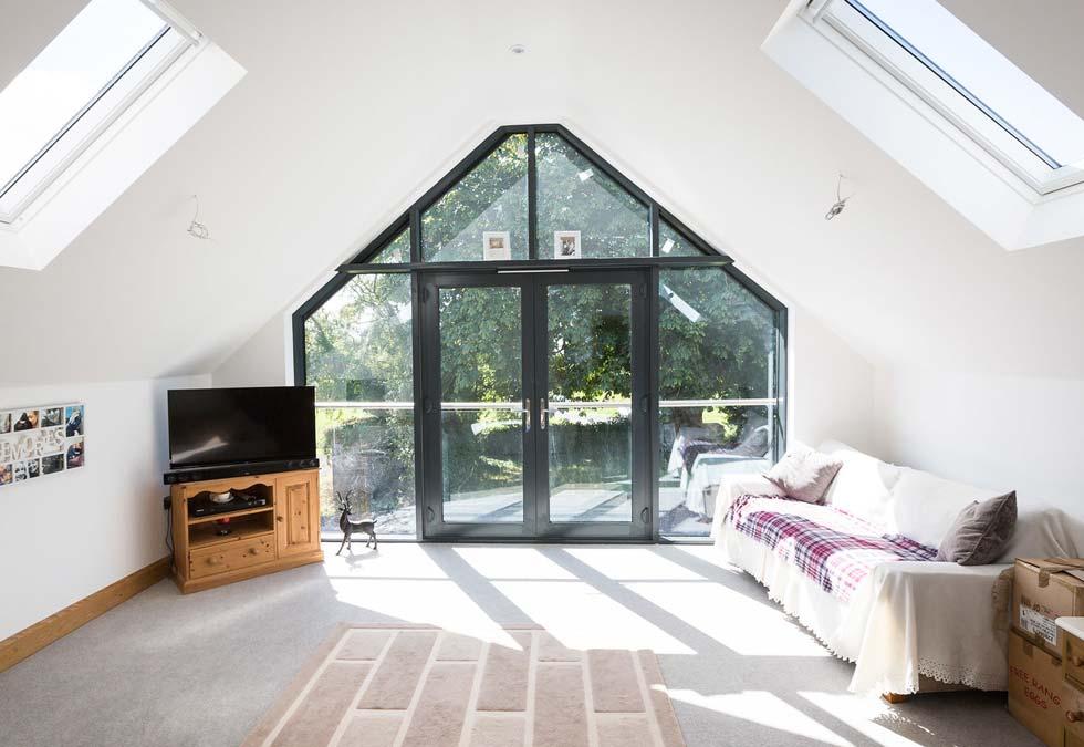 Bespoke angled aluminium windows