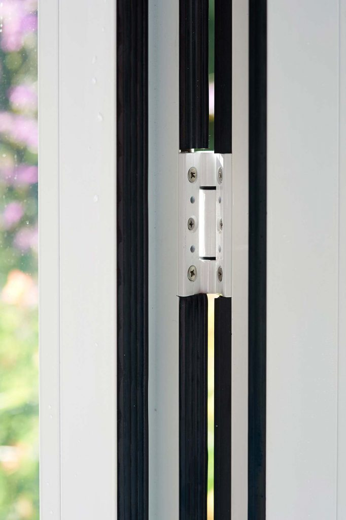 Bifold door hinge detail close up