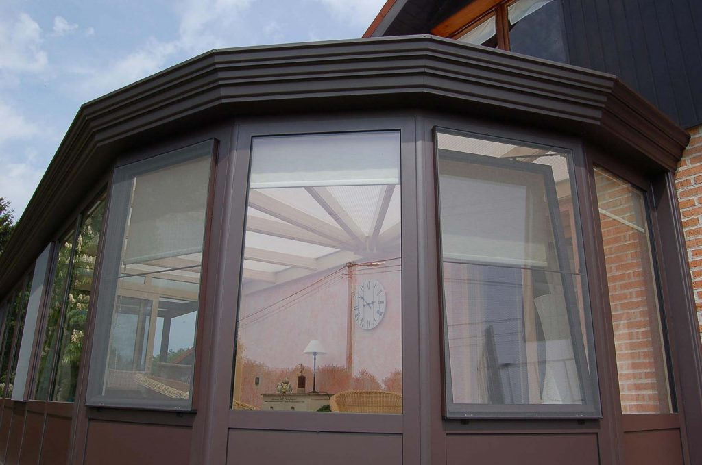 Brown aluminium conservatory installed