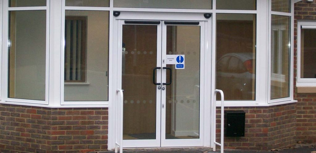 Automatic doors installed in a commercial building