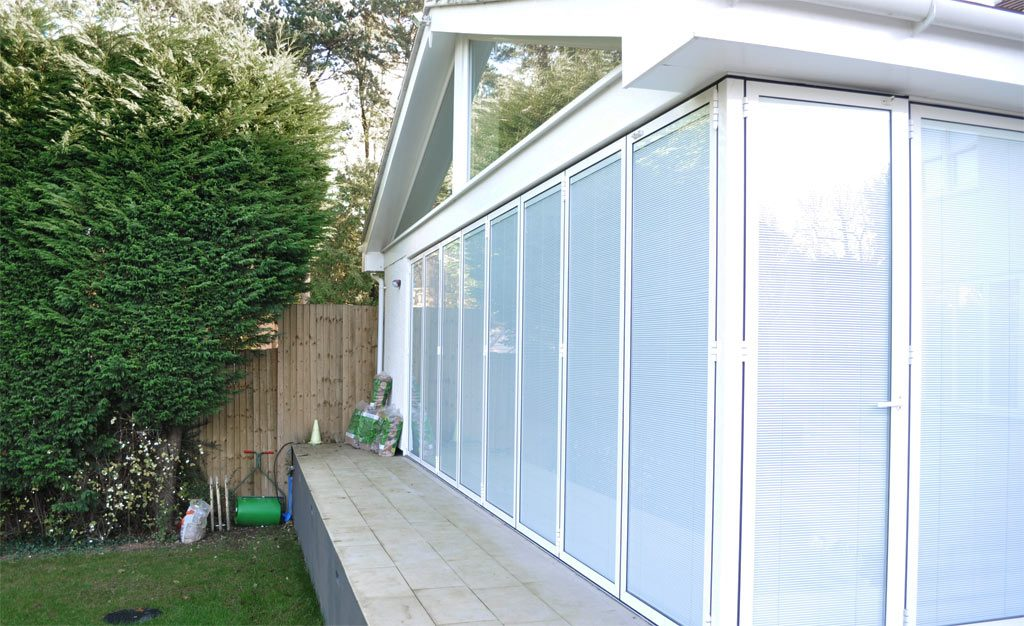 A conservatory with integrated blinds fully closed