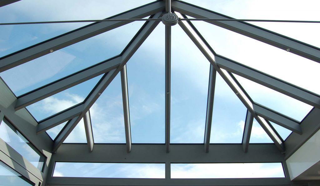 Glass aluminium conservatory roof