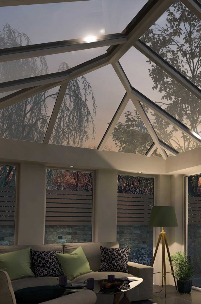 Lantern roof system appearance at night