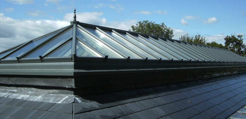 Large lantern roof fitted on to a large extension