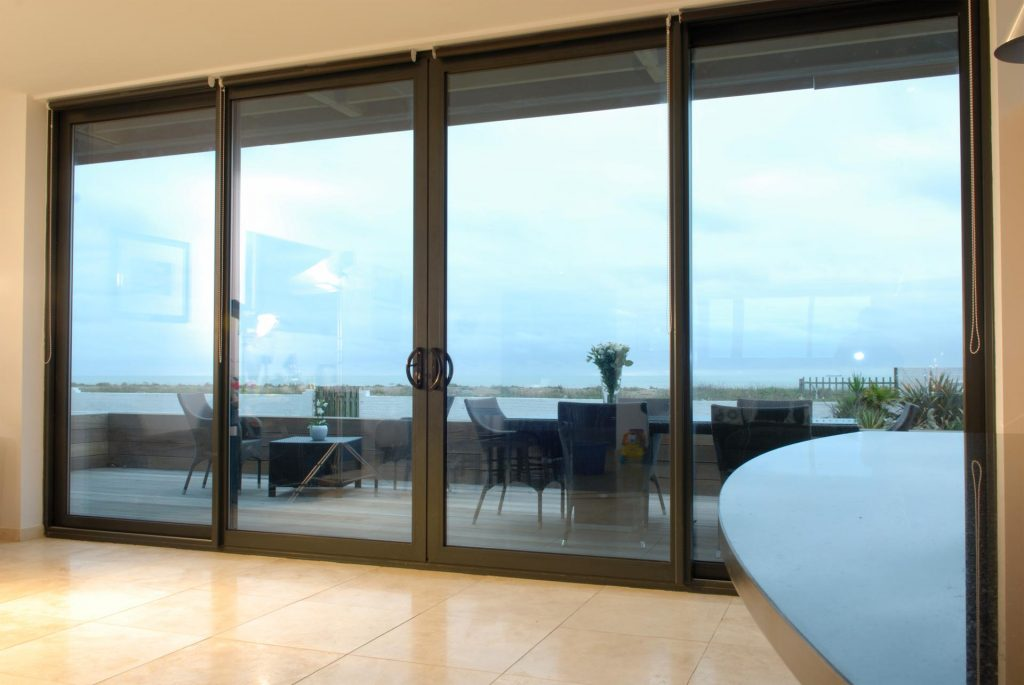 Aluminium sliding patio door with large glass span