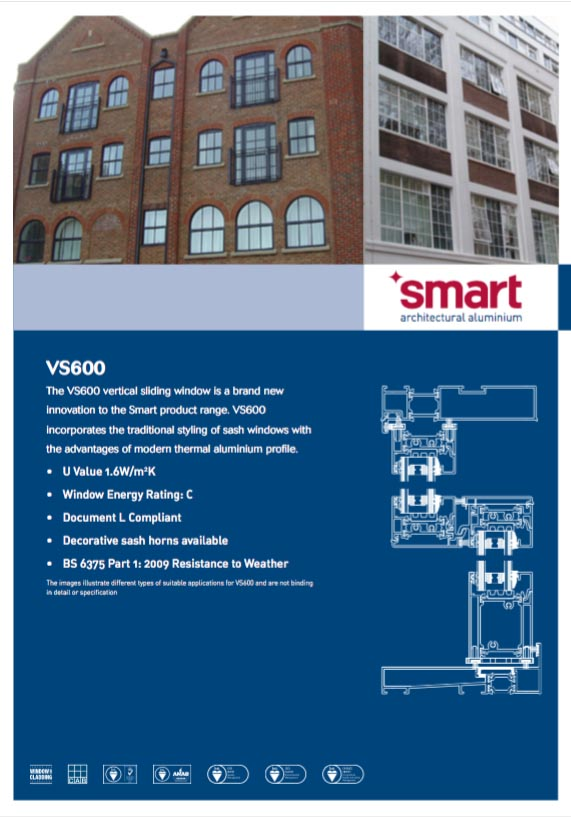 Smart VS600 aluminium windows datasheet