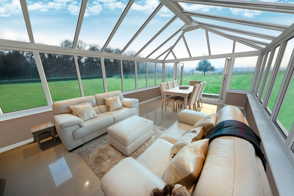 Large upvc conservatory overlooking large garden