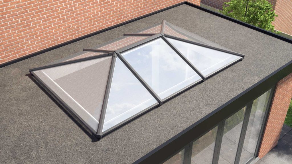External view of a lantern roof system