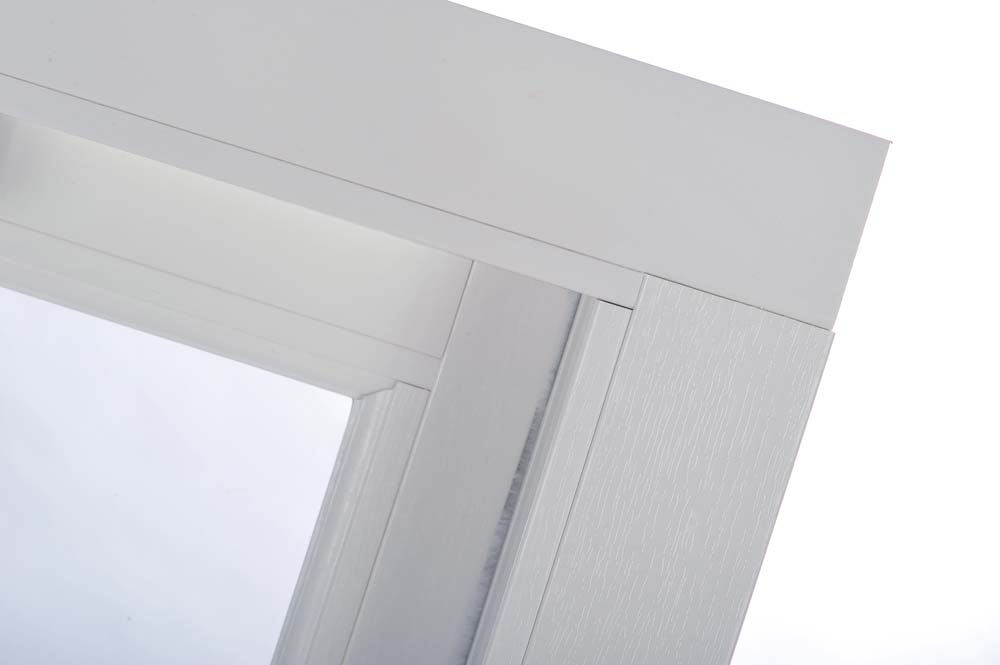 PVCu vertical sliding sash window with authentic mechanical joint, suitable for conservation projects