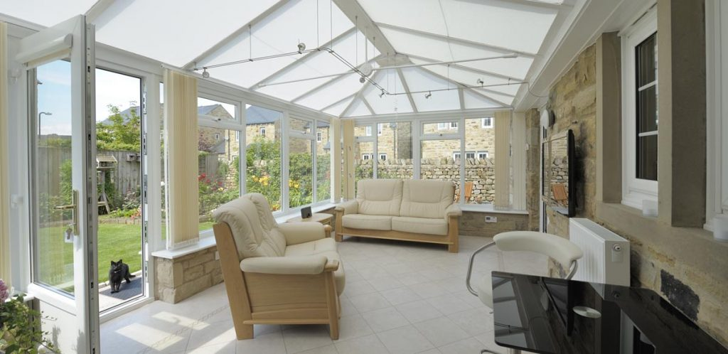 Internal view of white conservatory
