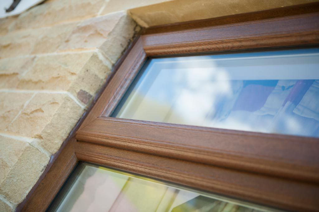Sculptured sash timber effect window manufactured using the Deceuninck uPVC 2500 system